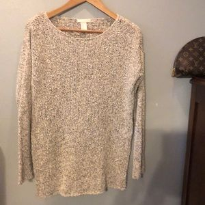 H & M oatmeal v-neck sweater large
